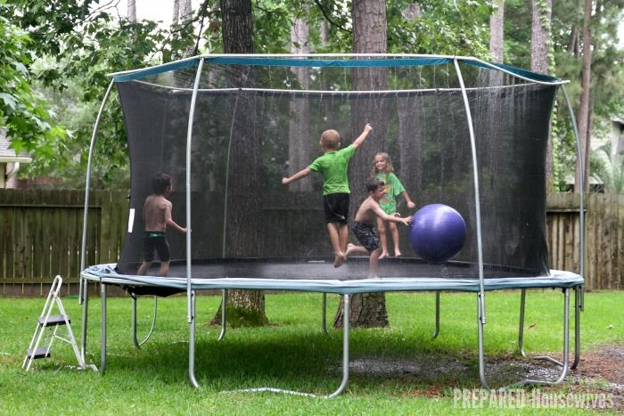 This is so cool!  PVC pipe trampoline water park... A Cool Way to Beat the Heat! www.orsoshesays.com