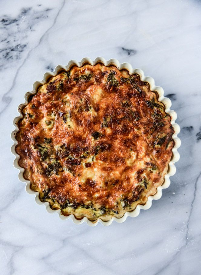 Roasted Broccolini, Bacon and Caramelized Shallot Quiche.