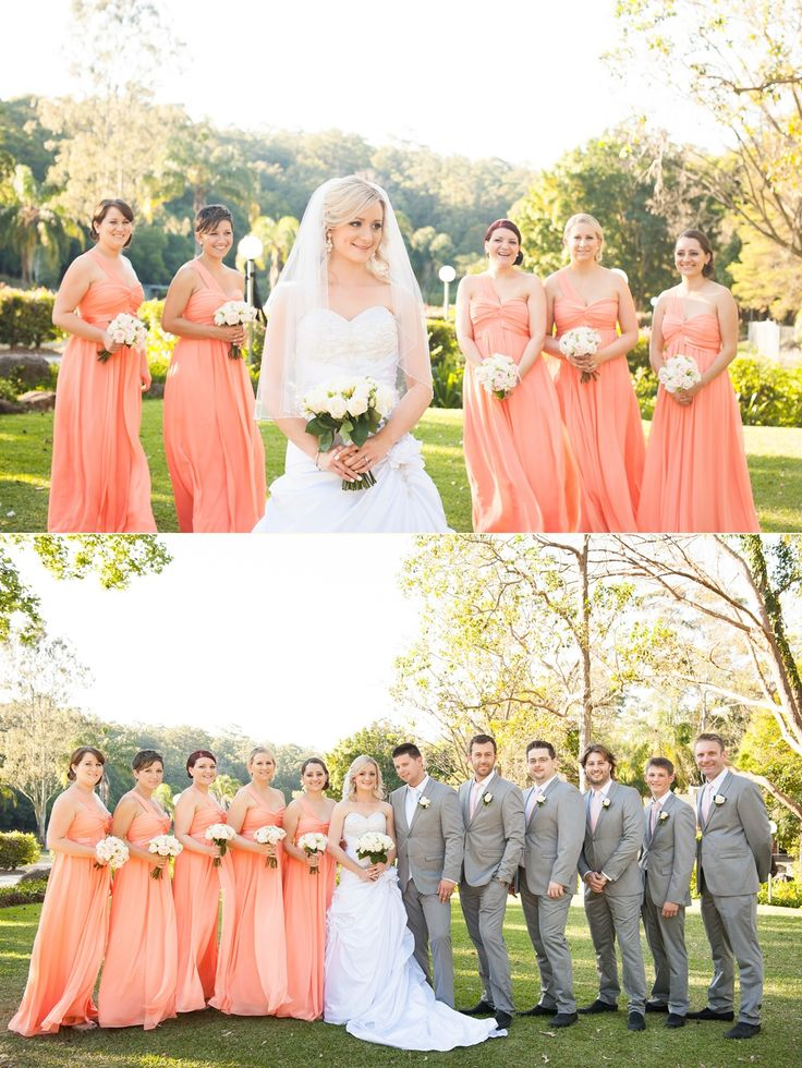 Orange pink and grey bridal party colours. ~Sydney wedding photography by Yulia Photography~ www.yuliaphotography.com.au
