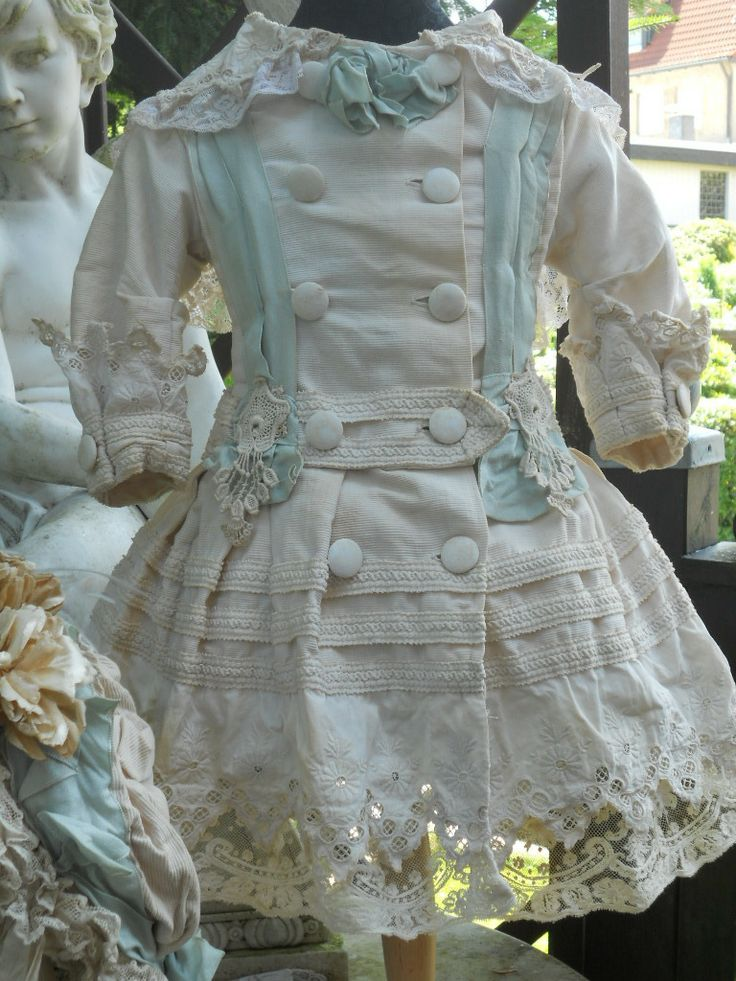~~~ Marvelous French Antique Pique Coat-Dress with Bonnet ~~~ from whendreamscometrue on Ruby Lane