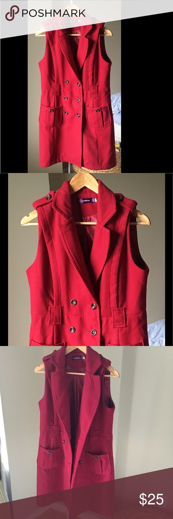 Red/Maroon sleeveless wool coat Vest coat in a beautiful deep shade of red. Size 40/M. Has loops for a belt for a more fitted look. Jackets & Coats Vests