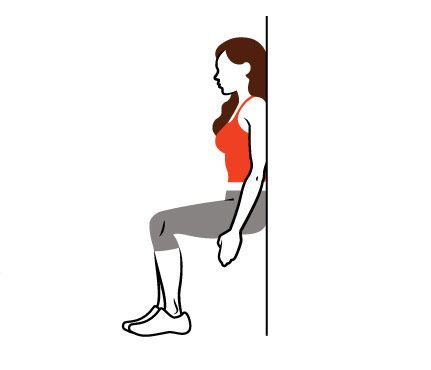 LuSteal Lucy's Allover Toners: Wall Sit. Squat with back to wall, arms at sides, thighs parallel to floor. Lucy's time: 3:15. #SelfMagazine