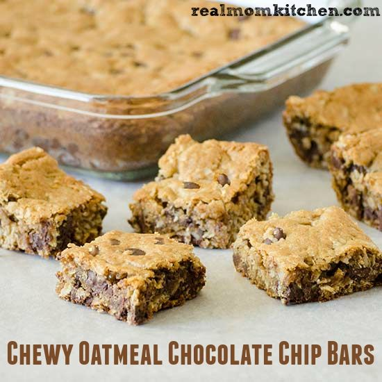Chewy Oatmeal Chocolate Chip Bars | realmomkitchen.com..... would ...