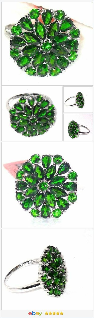 50% OFF #Ebay http://stores.ebay.com/jewelryandgiftsbyaliceandann Russian Chrome Diopside ring 6.00 ctw size 9 Sterling USA Seller