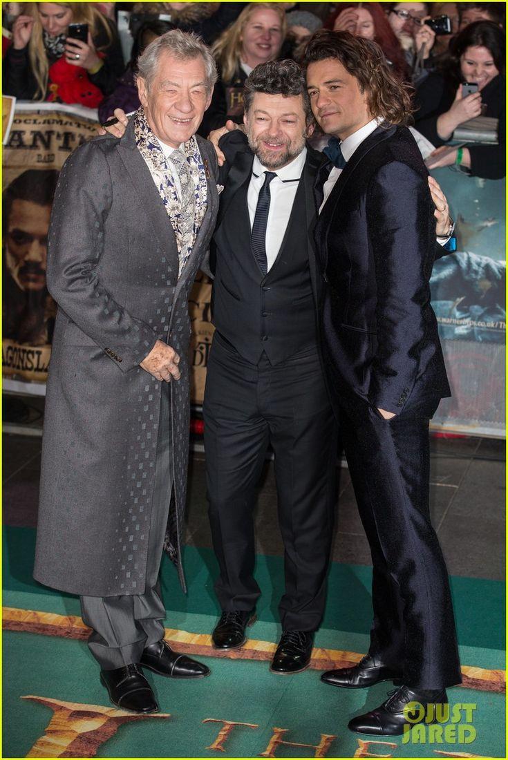 Orlando Bloom (Legolas), Andy Serkins (Gollum) & Ian McKellen (Gandalf) Go Glam for Final 'Hobbit' London Premiere (1-12-14) Monday.