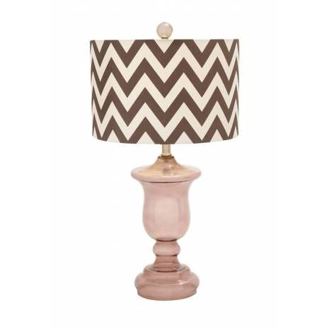 Dusty Pink Table Lamp with Glass Goblet Vase Base and Zig Zag Shade