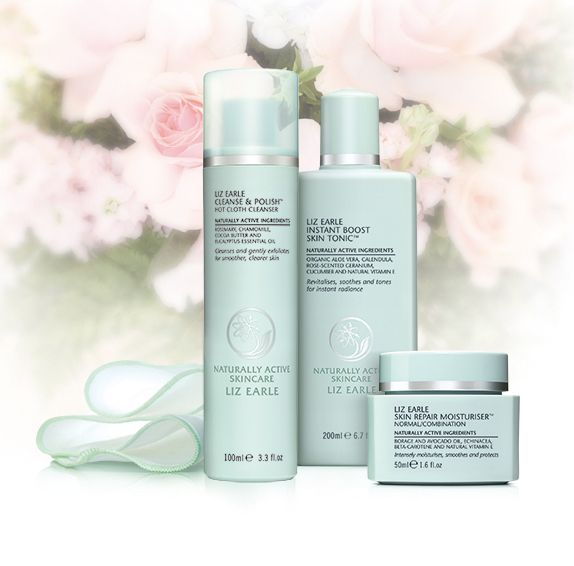 """If you don't do anything else for your skin, cleanse, tone and moisturise with our three daily essentials twice a day."" Liz Earle 3 easy steps!"