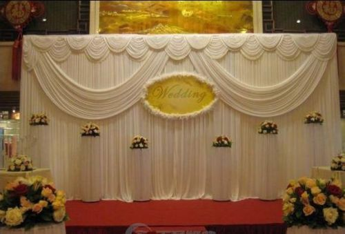 wedding event stage decoration backdrop party drapes double swag ice silk fabric #YH