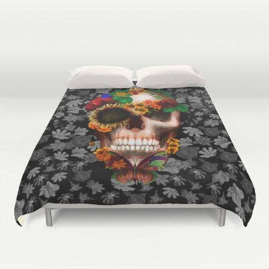 Halloween sugar skull with butterfly DUVET COVER #duvetcover #cover #bedroom #rug #daisy #roses #floral #flower #skull #skeleton #dayofthedead #diasdemuertos #jackskellingtons #halloween #scarythenight #beforechristmas #animal #bone #tattoo #hippie #hipster #aztec #maya #indian #feather