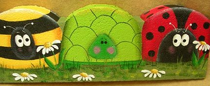Bugs & Turtle Landscape Border Pattern by Margaret Riley