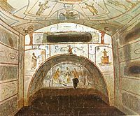 Catacomb chamber with (from top): Orants, Jonah and the Whale, Moses striking the rock (left), Noah praying in the ark, Adoration of the Mag...