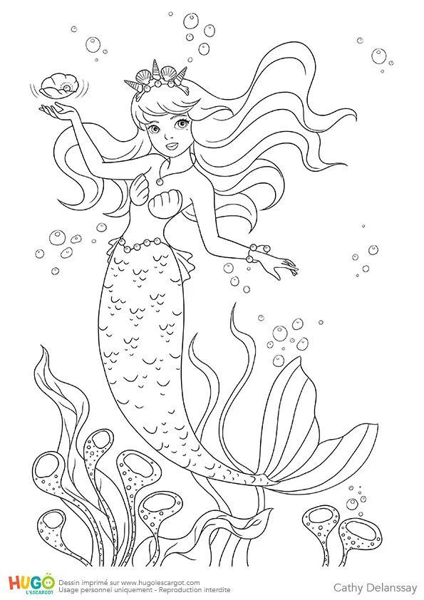 Coloriage et illustration de la petite sirène, princesse de légende. Vivant au fond de la mer ...