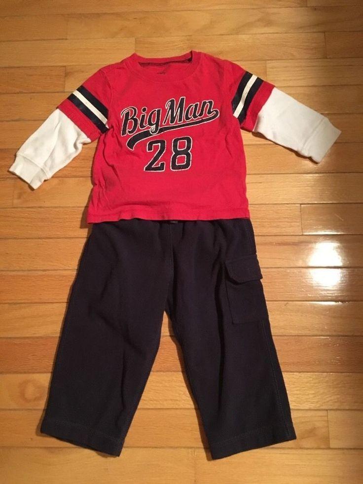 Boys Carter's 18 Months Red Shirt Navy Blue Fleece Pants Set Outfit | eBay