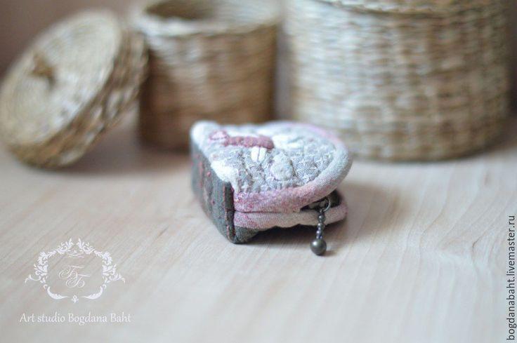 """Купить японский мини-кошелечек """"Влюбленный Ангел"""" - серый, рисунок, розовый, ангел, сердечко, сердце"""