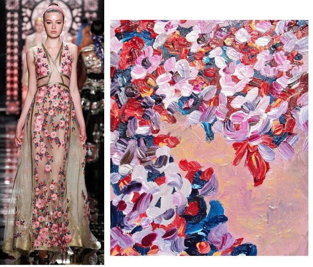 Splash Connect: Reem Acra - Spring 2016 Ready-to-Wear - Pink Florals / Red and Blue Foliage / Salmon/Apricot Background