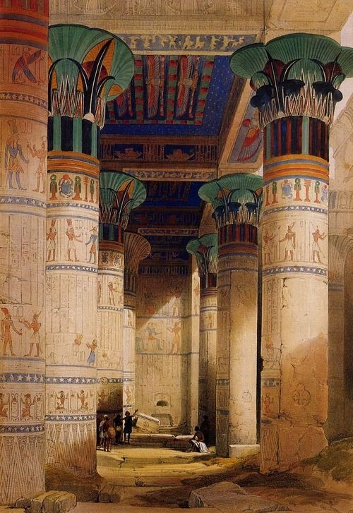 artandopinion:  Temple of Isis on the Island of Philae, Egypt 1838 David Roberts