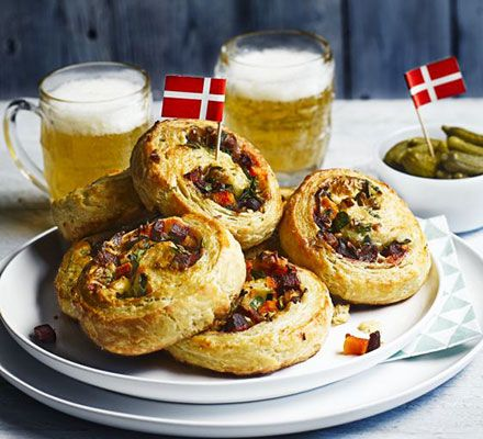 Savoury Danish pastries. Give morning pastries a bakeover by swapping the sweet for a savoury butternut squash, blue cheese, bacon, onion and beetroot filling