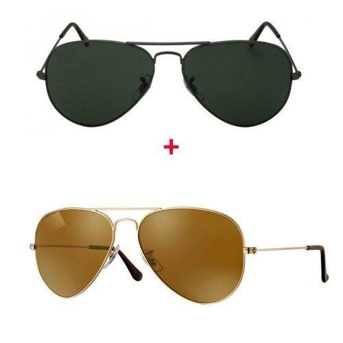 045b91cc90c56 Kit Com 2 Oculos De Sol Aviador Feminino E Masculino+brinde. Ray Ban  Hexagonal Blaze 3579 Original ...