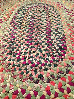 Vintage Oval Wool Braided Rug 56 X 72