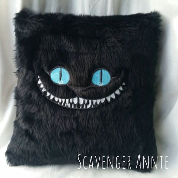 Facebook Twitter Google+ PinterestSo there isn't much official Cheshire Cat merchandise for the home BUT, the super talented Scavenger Annie on Etsy has made these awesome Cheshire Cat cushions! If you are a Tim Burton fan like me and prefer his version of Alice in Wonderland, then this awesome black Cheshire Cat cushion is just …