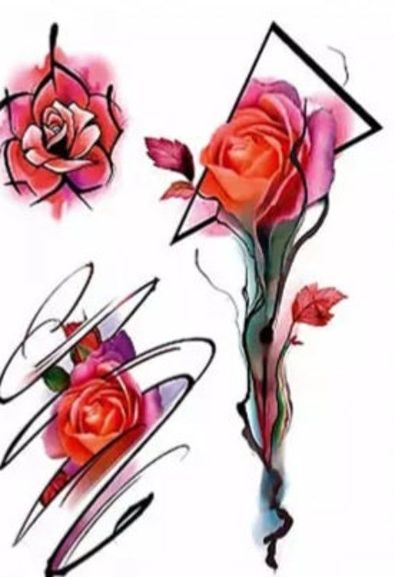 A Temporary Tattoo Of An Orange Roses Comes In 3 Pieces The Tattoo Measurement Is 8 In 2020 Traditional Rose Tattoos Neo Traditional Roses Watercolor Rose Tattoos
