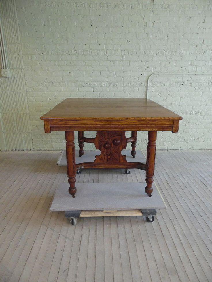 Vintage Oak Wood Carved CHERRY Berry Floral Design Kitchen Dining Table W Leaf MissionArtsCrafts