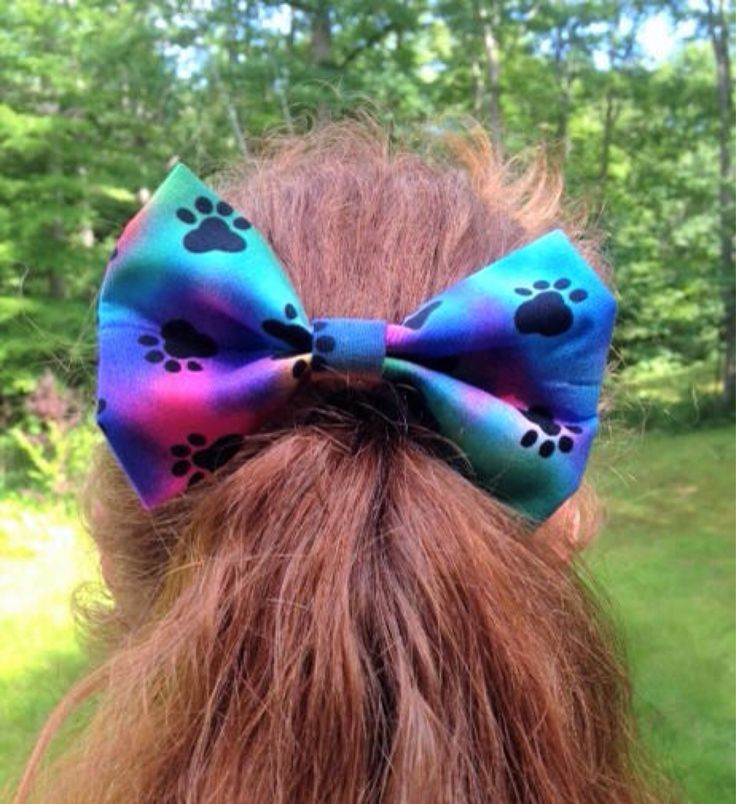 Tie Dye Paw Print Fabric Bow, Kids Hair Bow, Girls Hair Bow, Hair Accessory, Fabric Hair Clip, Girl Hair Clip, Teen Hair Bow, Handmade Bow by MissZoesPlace on Etsy https://www.etsy.com/listing/546995883/tie-dye-paw-print-fabric-bow-kids-hair