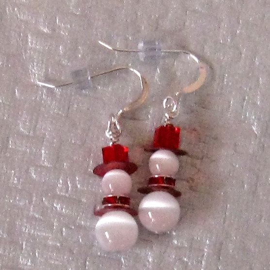 Snowman Earrings, Red Swarovski Crystal Earrings, Holiday Jewelry, Winter Earrings. $12.00, via Etsy.