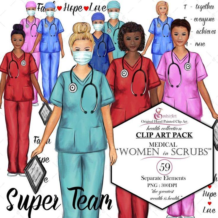 Women in Scrubs Clip Art Kit. Nurse Doctor custom Etsy
