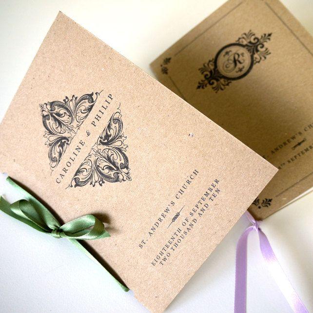VINTAGE ORDER OF SERVICE - pocket-sized wedding program - SAMPLE ONLY £2.00
