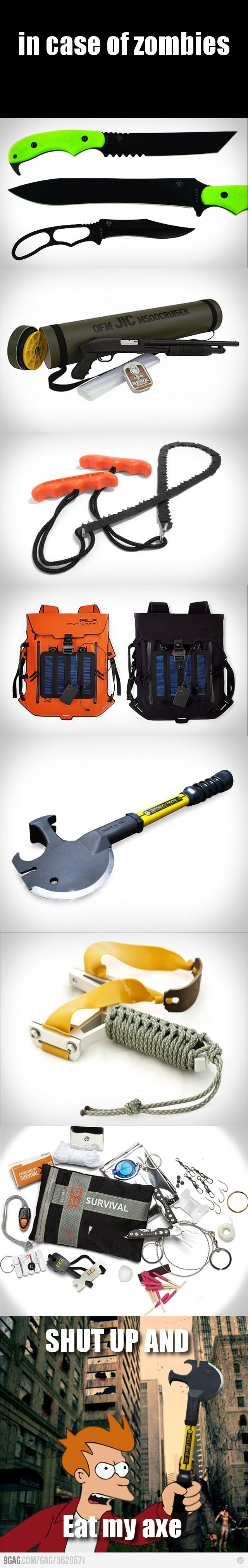 Zombie Apocalypse survival gear is ALWAYS cool..