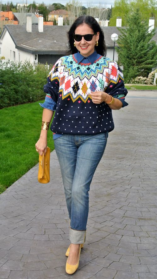 April 4, 2013 http://www.akeytothearmoire.com/post/47097581438/oversized-argyle #oversized sweater #argyle #yellow #jeans #navy blue #turquoise #coral #chartreuse #denim #chambray #Ralph Lauren #Sisley #Cutter & Buck #Ann Taylor #Cole-Haan #dots #casual #preppy #chic #polka dots