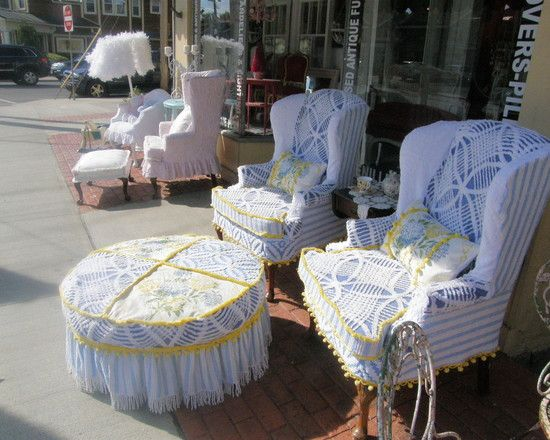 Shabby Chic Slipcovers | Shabby Chic Wingback Sofa Slipcovered with Vintage Chenille Bedspreads ...