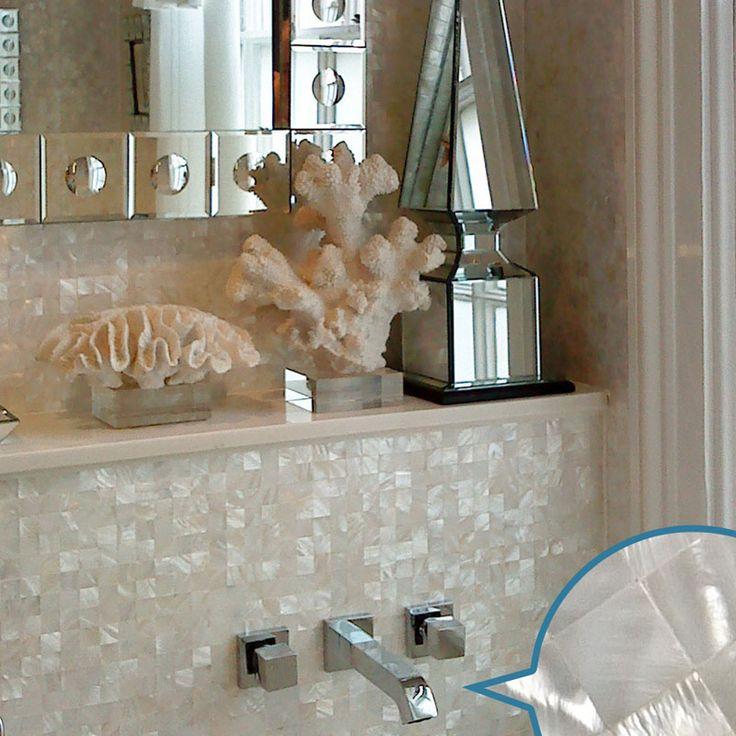 mother of pearl tile | Mother of Pearl Tile White Square Shell Tiles Kitchen Backsplash Wall ...