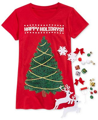 It's like a different shirt every time! Get this Awake Juniors' Christmas Tee Box Kit on sale for $10.99 at Macy's CA @swagbucks  #CandyCaneGang #UglySweater(enya1201)