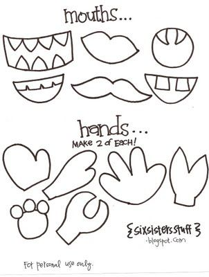 printable pieces for monster puppets ( make cardboard stencils for the kids to trace on construction paper for paper bag  puppets)