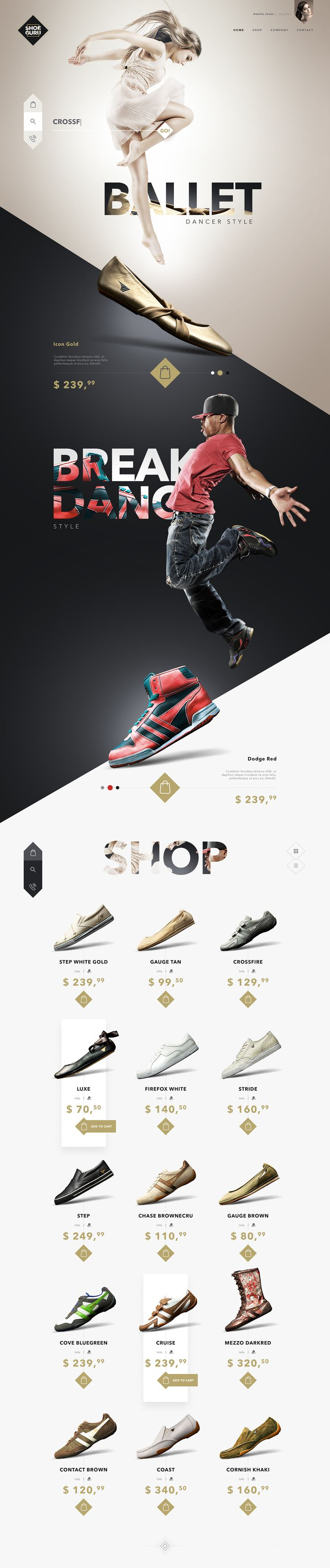 SHOE GURU Shop – Ui design and visual concept.