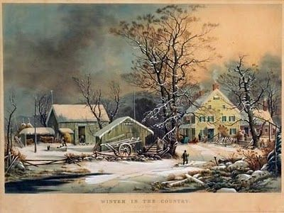 """~Winter In The Country - The Old Homestead~ George Henry Durrie (1820-1863). """"Durrie's winter scenes are quintessential American images. He used soft, appealing colors & his eye for the details of American rural homes & farms of the period added an authenticity to the paintings..."""" (read more by clicking pin)"""