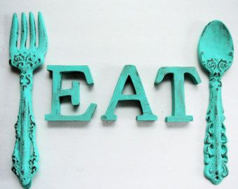 Cast Iron Shabby Chic distressed  Turquoise Cast Fork and Spoon and EAT for Kitchen Decor
