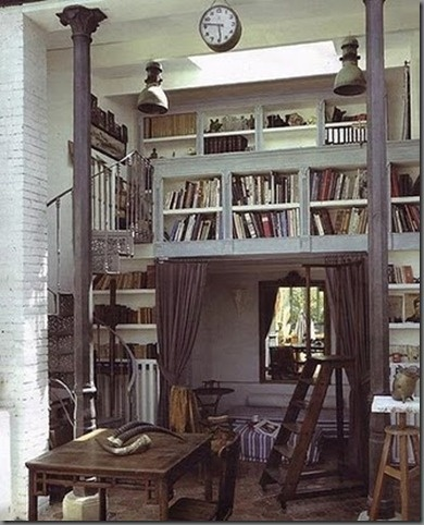 Oh, the books!  The staircase!  The loft!  The light fixtures!  The bed!  The ladder!  The clock!  The columns! The history and old feel.