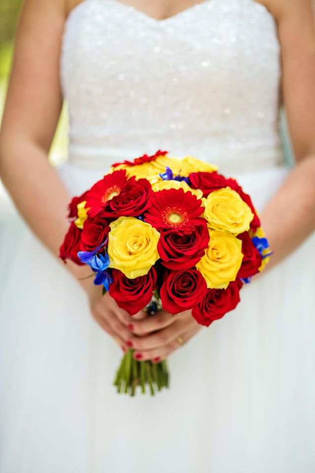 This beautiful Disneyland bouquet is perfect for a Snow White inspired Disney's Fairy Tale Wedding