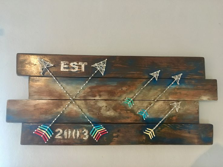 Pallet Wall Art Decor with String Art.