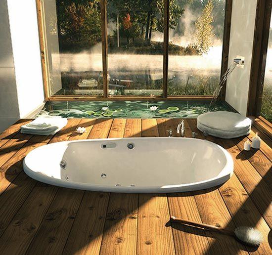 Lily pads in the bathroom! LOVE. LOVE. LOOOOOOOVE. annnnd a sunken bathtub! Perfection, so beautiful, so serene, so has to be mine...