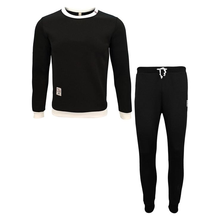 Men'S Spring and Autumn Casual Long-Sleeved Solid Color Sports Shirt Sweater  Trousers Casual Two-Piece Suit - BLACK 3XL
