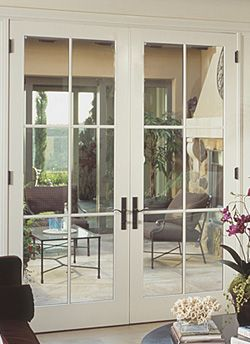 Swinging doors doors and double sliding doors on pinterest for Double wide patio doors