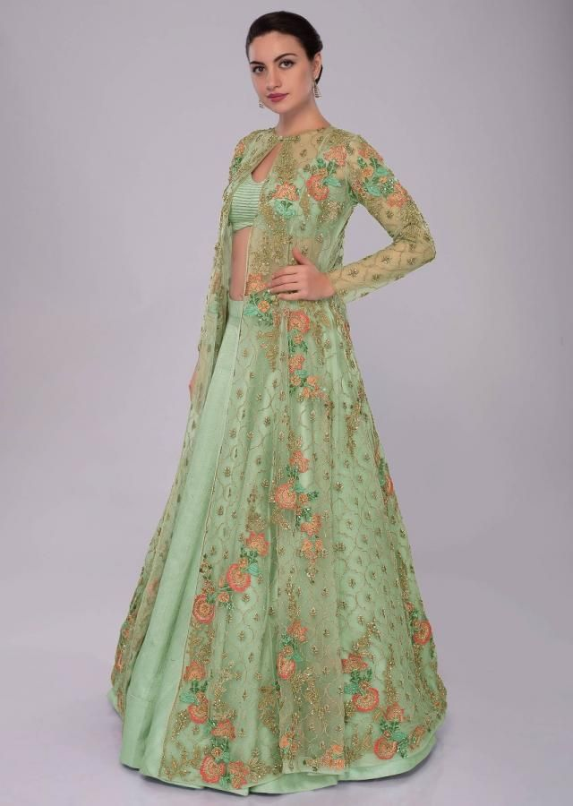 8d42f861af49cb Irish green raw silk skirt and blouses paired with long net embroidered  jacket only on Kalki