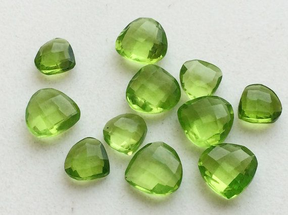 10 Pcs Peridot Colored Quartz Faceted Peridot by gemsforjewels