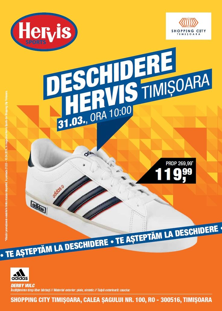 Catalog Hervis Deschidere magazin in Timisoara Shopping City, Calea Sagului nr. 100 cu oferte in perioada 31 Martie - 10 Aprilie 2016!