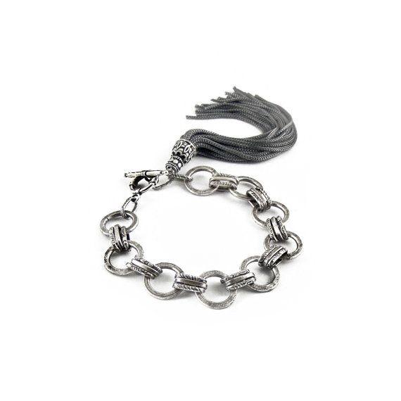 Gray Tassel Bracelet Steel Chain Bracelet by sunnybeadsbythesea