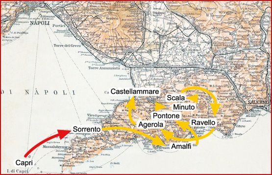 """Turisti nel tempo - Karl Blechen (1798-1840) - Viaggia per tre mesi estivi (maggio-luglio 1829), a piedi, sull' asino o con la barca lungo tutta la zona dei due golfi di Napoli e Salerno: dal 12 maggio, data in cui arriva a Capri, si sposta poi a Sorrento, da cui raggiunge Amalfi. Nella sua concisa relazione di viaggio scrive: """"Ad Amalfi… ci fermammo otto giorni, disegnammo diversi aspetti della valle e facemmo un'escursione a piedi sulle montagne verso Ravello""""; da qui si sposta ad Atrani…"""